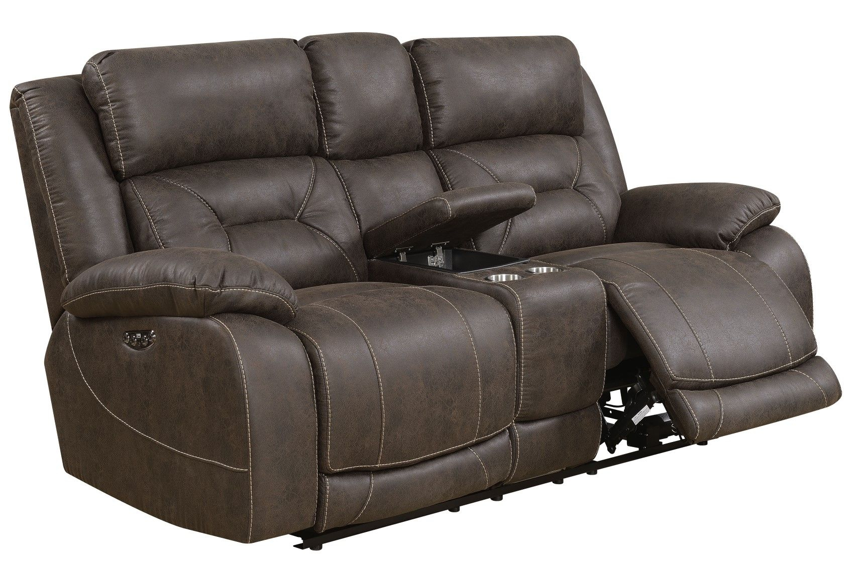 Aria Power Recliner Sofa Set With Power Head Rest In Within Expedition Brown Power Reclining Sofas (View 2 of 15)