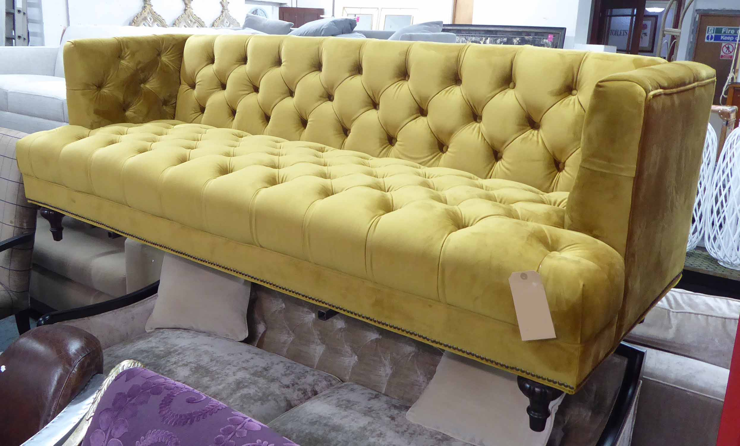 Artsome For Coach House Sofa, Mustard Buttoned Finish Inside French Seamed Sectional Sofas Oblong Mustard (View 4 of 15)