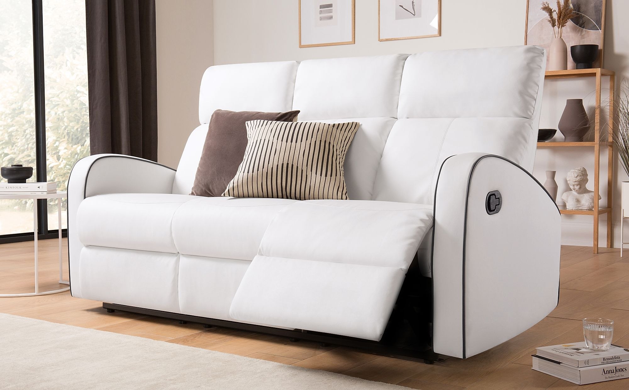 Ashby White Leather 3 Seater Recliner Sofa | Furniture Choice For 3 Seater Leather Sofas (View 14 of 15)