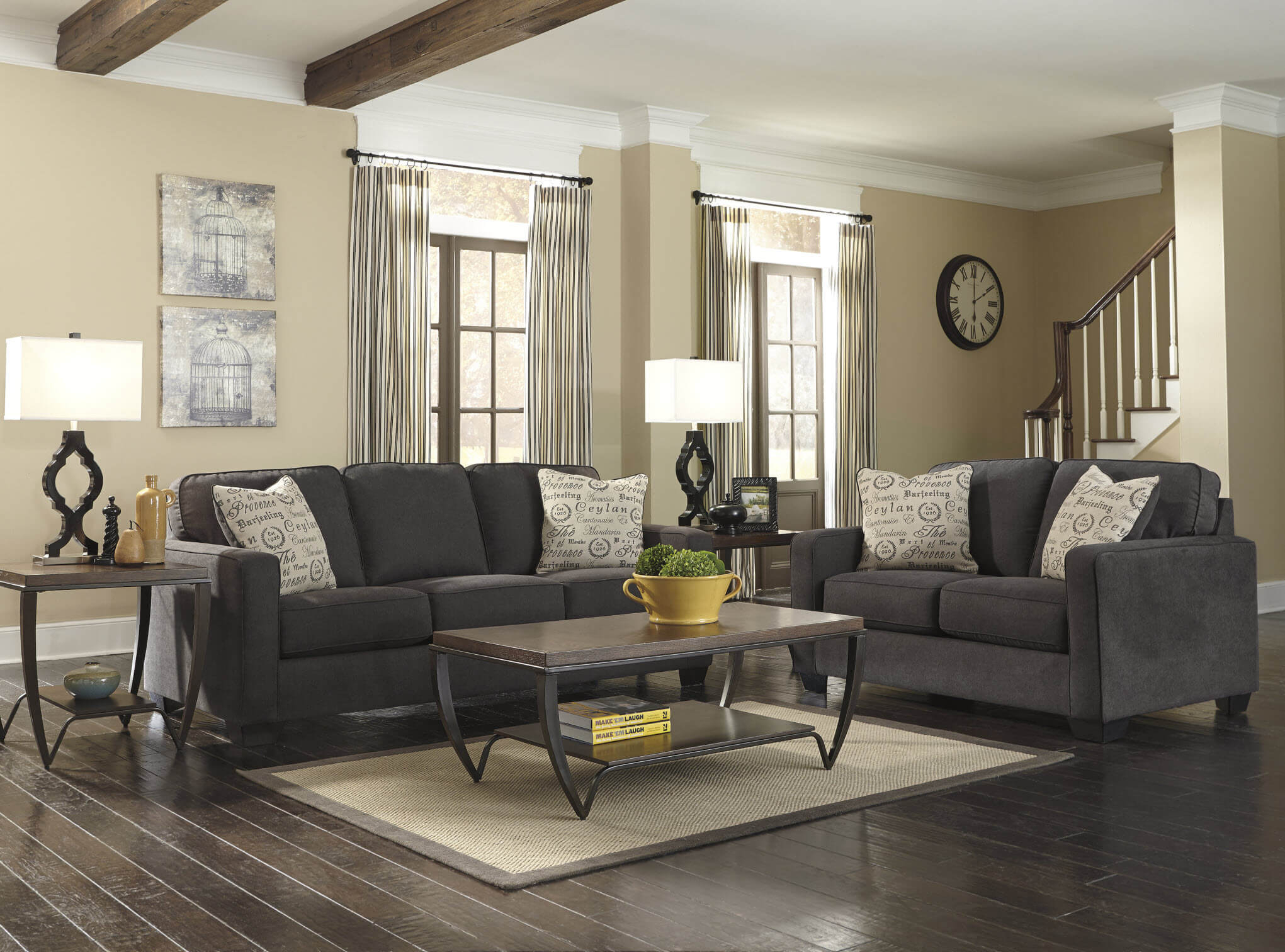 Ashley Alena Charcoal Sofa And Loveseat | Living Room Sets Throughout Sofa Chairs For Living Room (View 14 of 15)