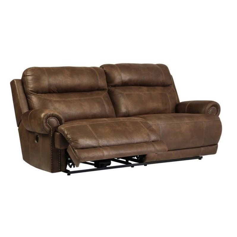 Ashley Austere 2 Seat Faux Leather Power Reclining Sofa In In Expedition Brown Power Reclining Sofas (View 14 of 15)