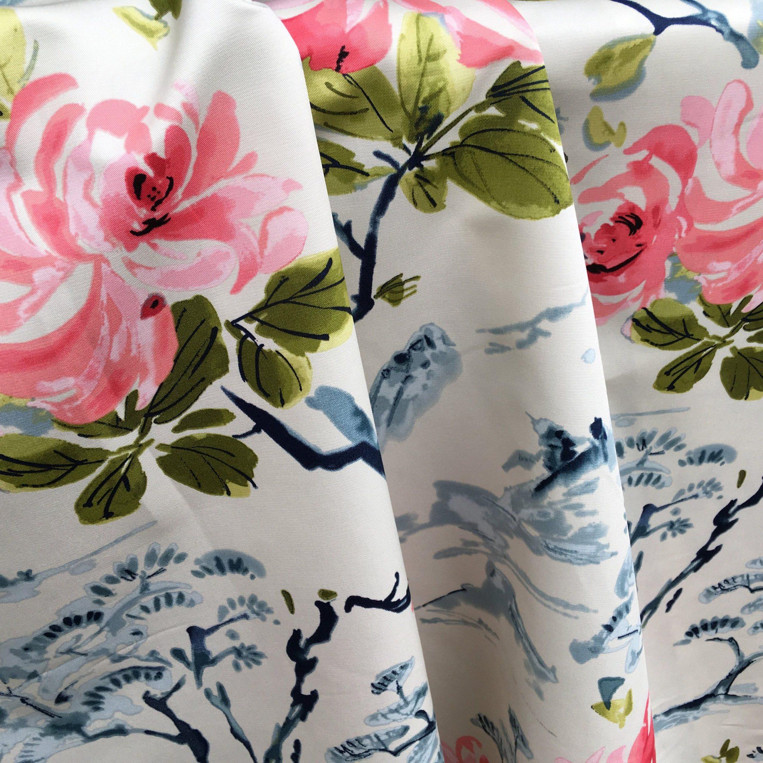 Asian Chintz Upholstery Fabricthe Yard / Chinoiserie Pertaining To Chintz Fabric Sofas (View 13 of 15)
