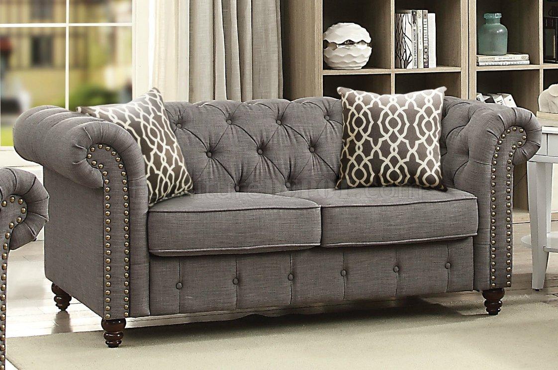 Aurelia Sofa 52425 In Gray Linen Fabricacme W/Options Regarding Fabric Sofas (View 13 of 15)