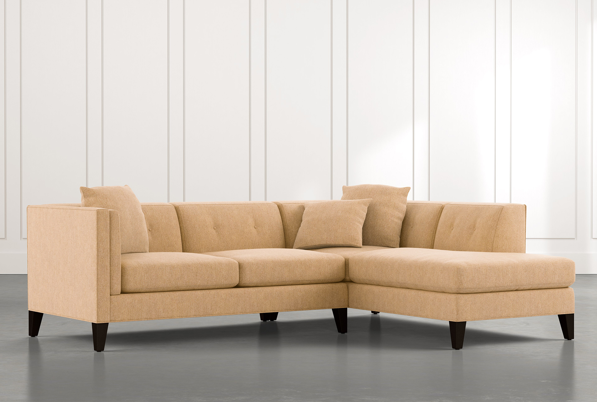 Avery Ii Yellow 2 Piece Sectional Sofa With Right Arm With 2Pc Connel Modern Chaise Sectional Sofas Black (View 12 of 15)
