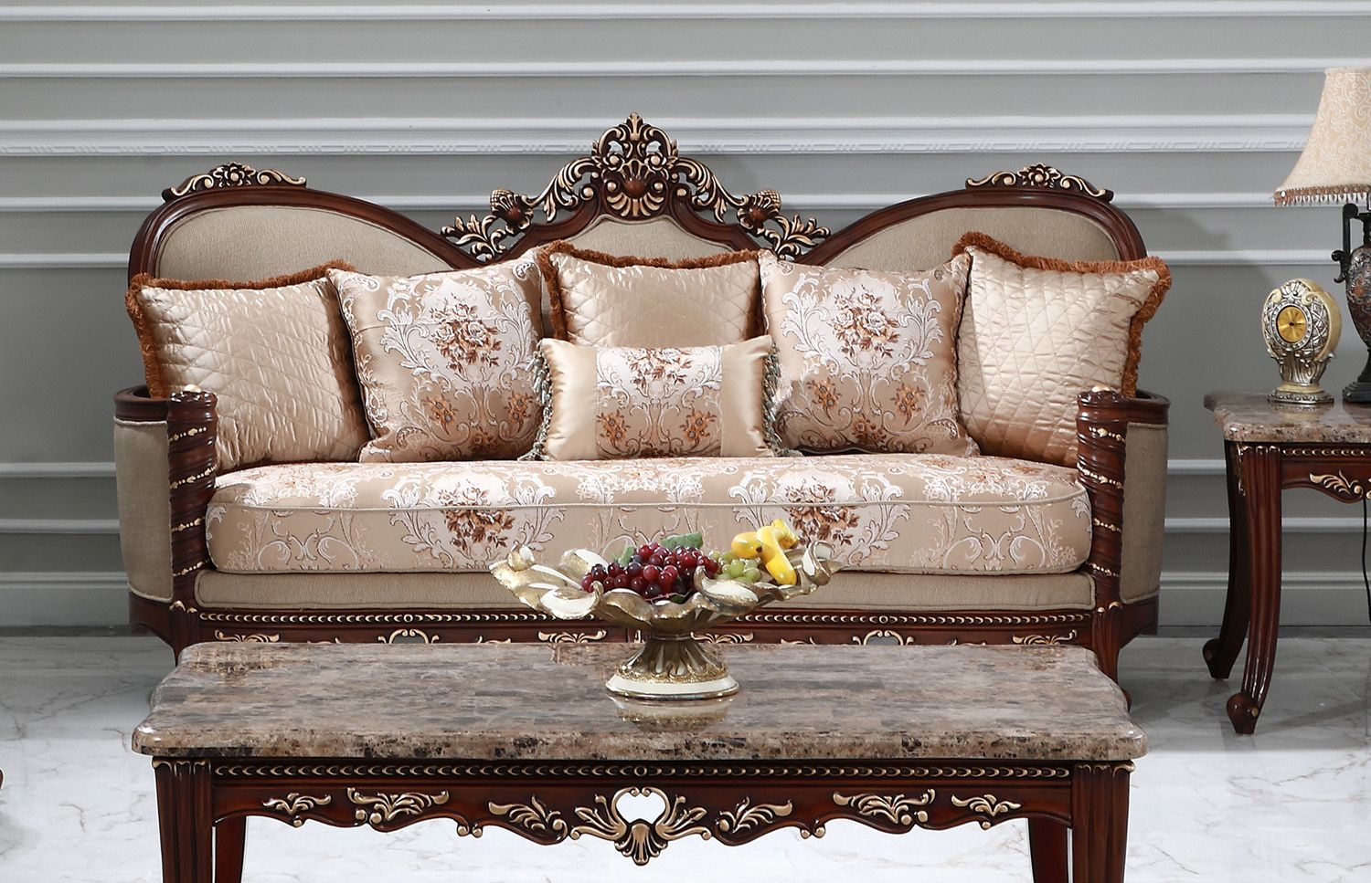 Azalea Victorian Sofa & Loveseat Beige Floral Print Carved Throughout Floral Sofas And Chairs (View 6 of 15)