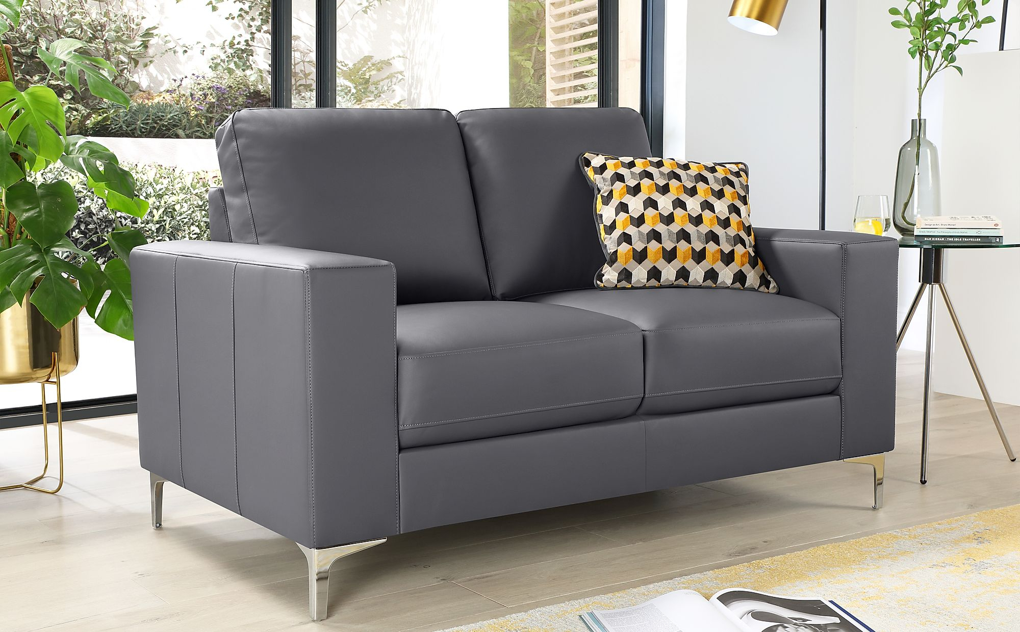 Baltimore Grey Leather 2 Seater Sofa | Furniture Choice Pertaining To Grey Sofa Chairs (View 5 of 15)
