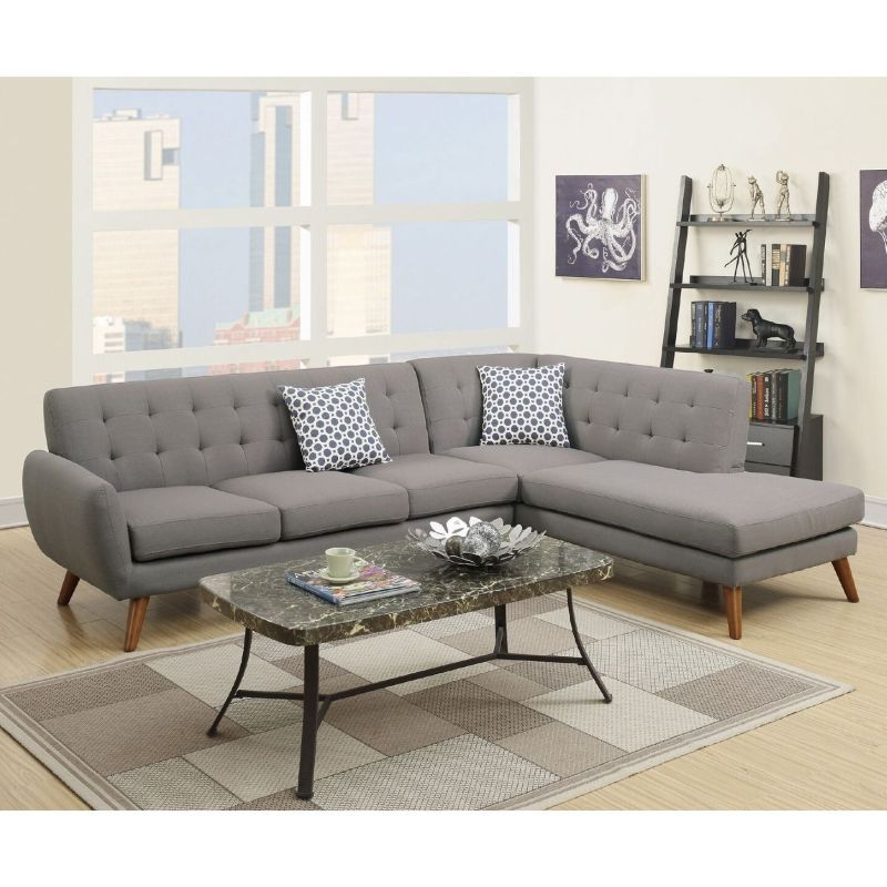 Barclay 4 Seat Linen Fabric Sofa Chaise Light Grey In 2020 Regarding 2Pc Crowningshield Contemporary Chaise Sofas Light Gray (View 3 of 15)