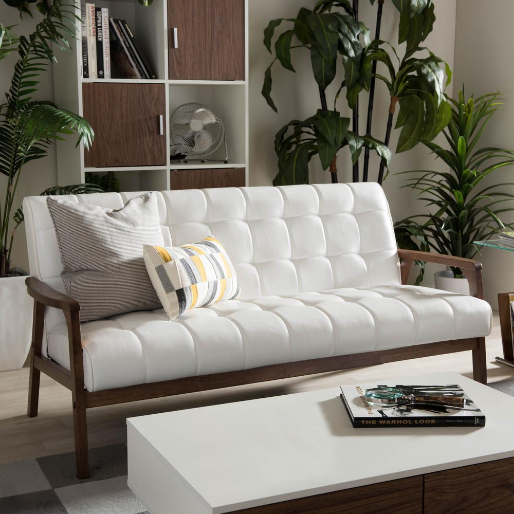 Baxton Studio Masterpiece Mid Century White Faux Leather With Regard To White Sofa Chairs (View 3 of 15)