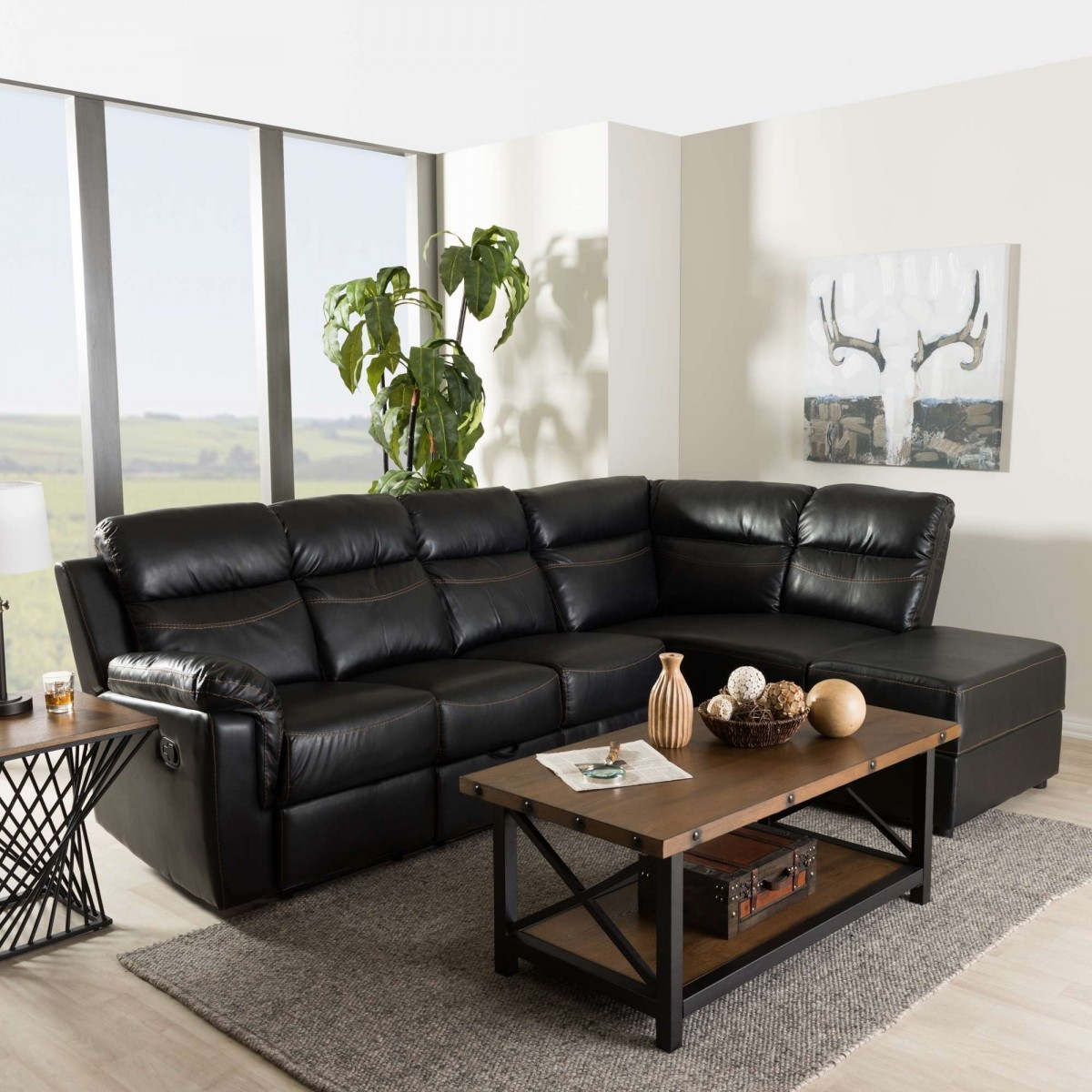 Baxton Studio Roland Contemporary Black Faux Leather 2 With 2Pc Connel Modern Chaise Sectional Sofas Black (View 2 of 15)