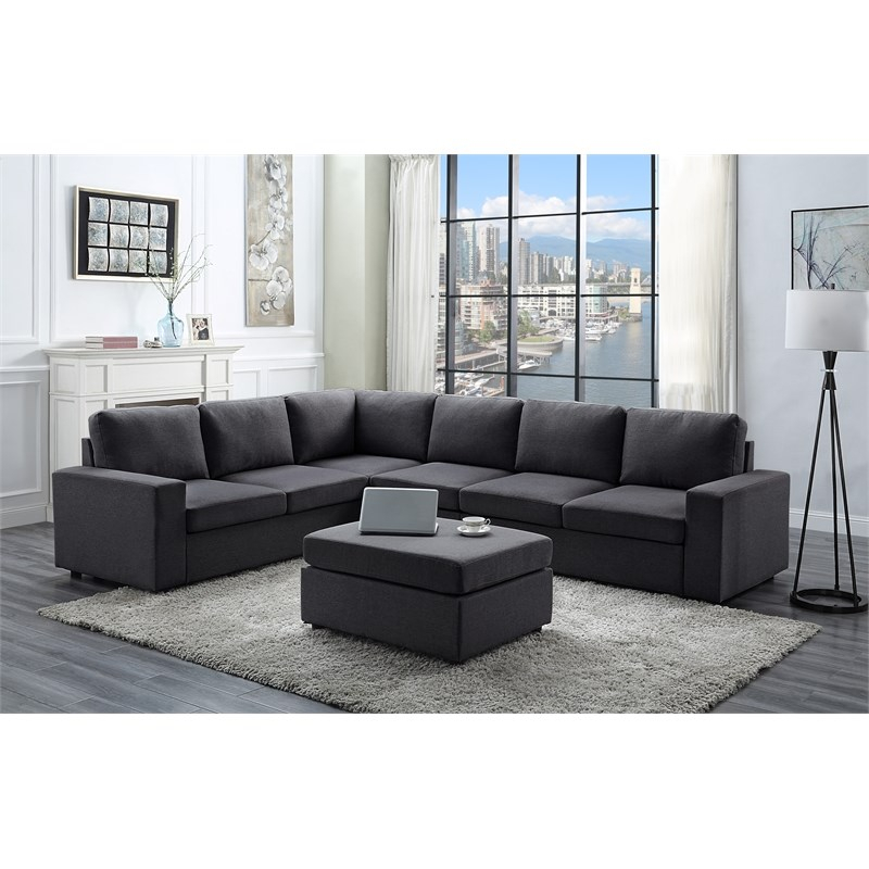 Bayside Modular Sectional Sofa With Ottoman In Dark Gray Intended For Polyfiber Linen Fabric Sectional Sofas Dark Gray (View 9 of 15)