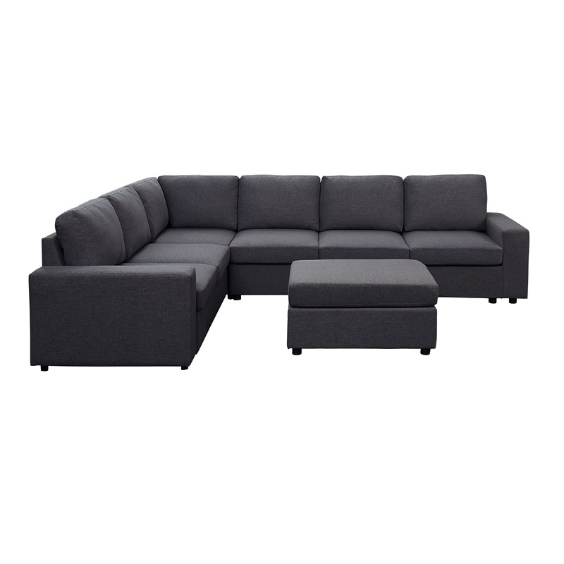 Bayside Modular Sectional Sofa With Ottoman In Dark Gray With Regard To Dream Navy 2 Piece Modular Sofas (View 3 of 15)