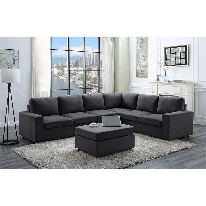 Bayside Modular Sectional Sofa With Ottoman In Dark Gray Within Polyfiber Linen Fabric Sectional Sofas Dark Gray (View 4 of 15)