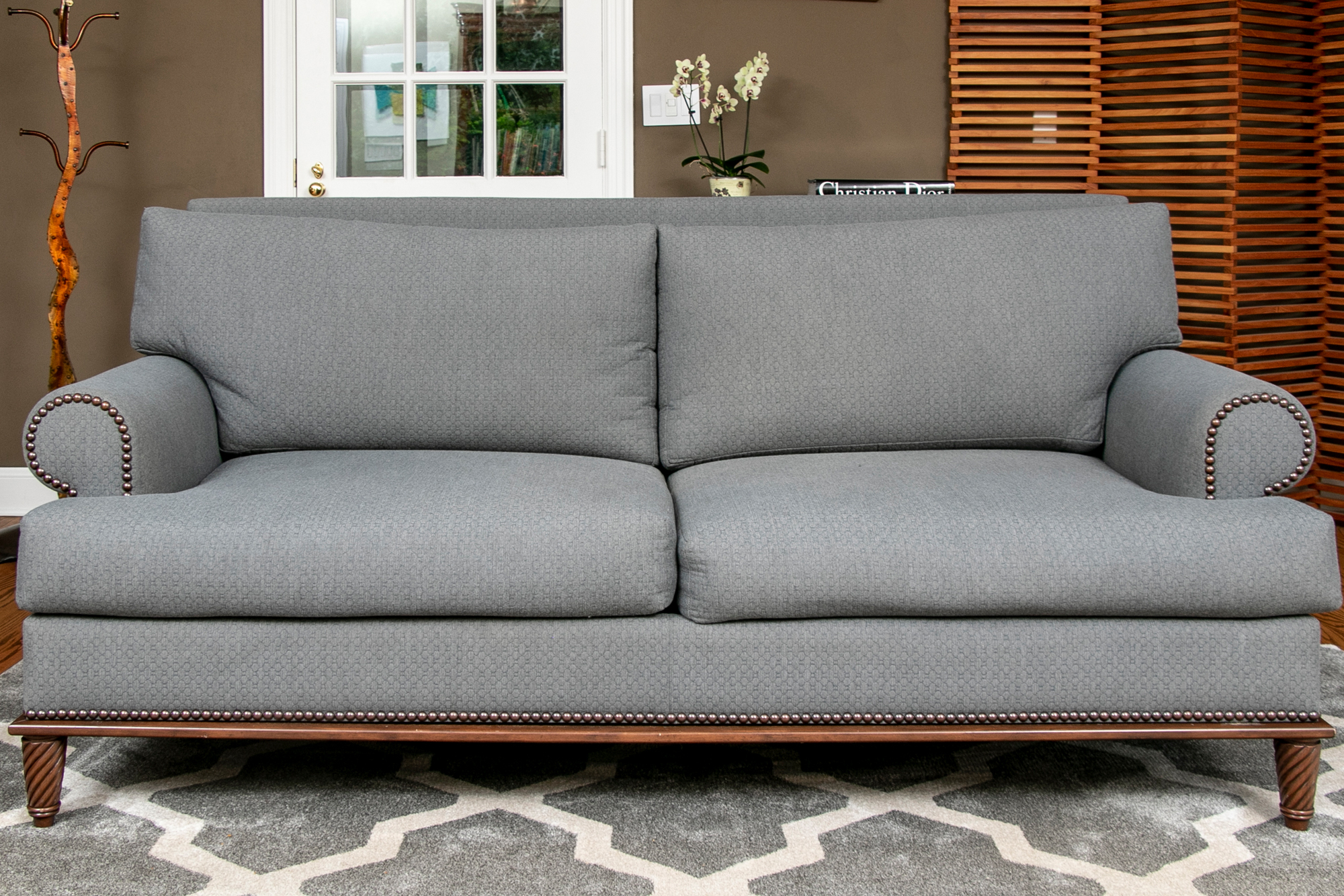 Beautiful Custom Grey Upholstered Rolled Armed Sofa With Regarding 2Pc Polyfiber Sectional Sofas With Nailhead Trims Gray (View 5 of 15)