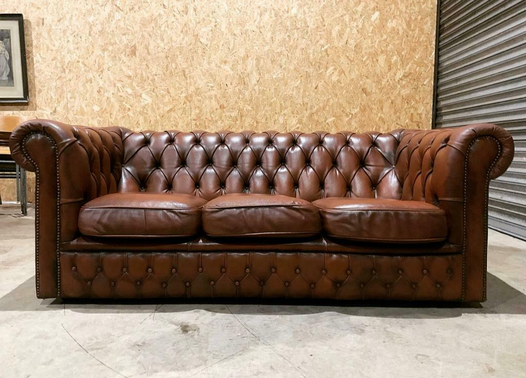 Beautiful Vintage Mid Century Cigar Brown Leather With Regard To Leather Chesterfield Sofas (View 6 of 15)