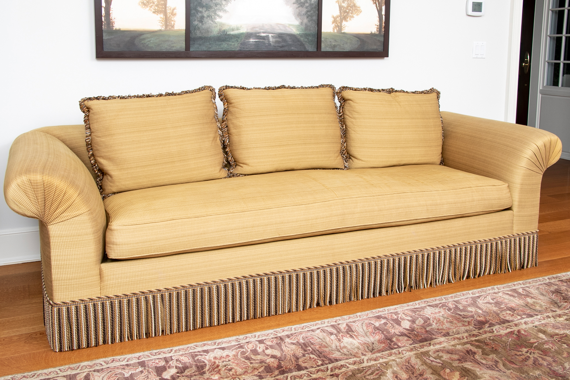Beautifully Tailored Custom Sofa With Three Accent Pillows With Customized Sofas (View 1 of 15)