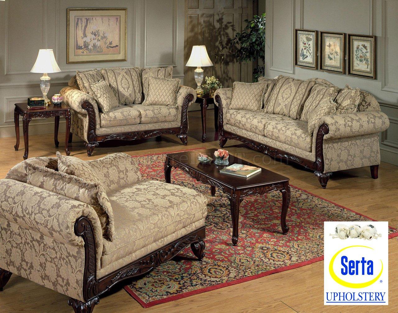 Beige Clarissa Carmel Fabric Traditional 2Pc Sofa Set W For Fabric Sofas (View 10 of 15)