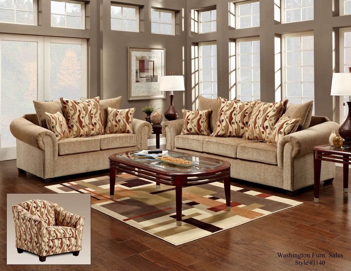 Beige Fabric Classic Sofa & Loveseat Set W/Optional Items With Sofas And Chairs (View 2 of 15)