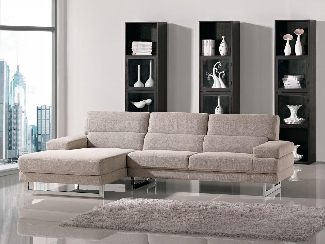 Beige Fabric L Shape Modern Sectional Sofa W/Metal Legs Inside Mireille Modern And Contemporary Fabric Upholstered Sectional Sofas (View 7 of 15)