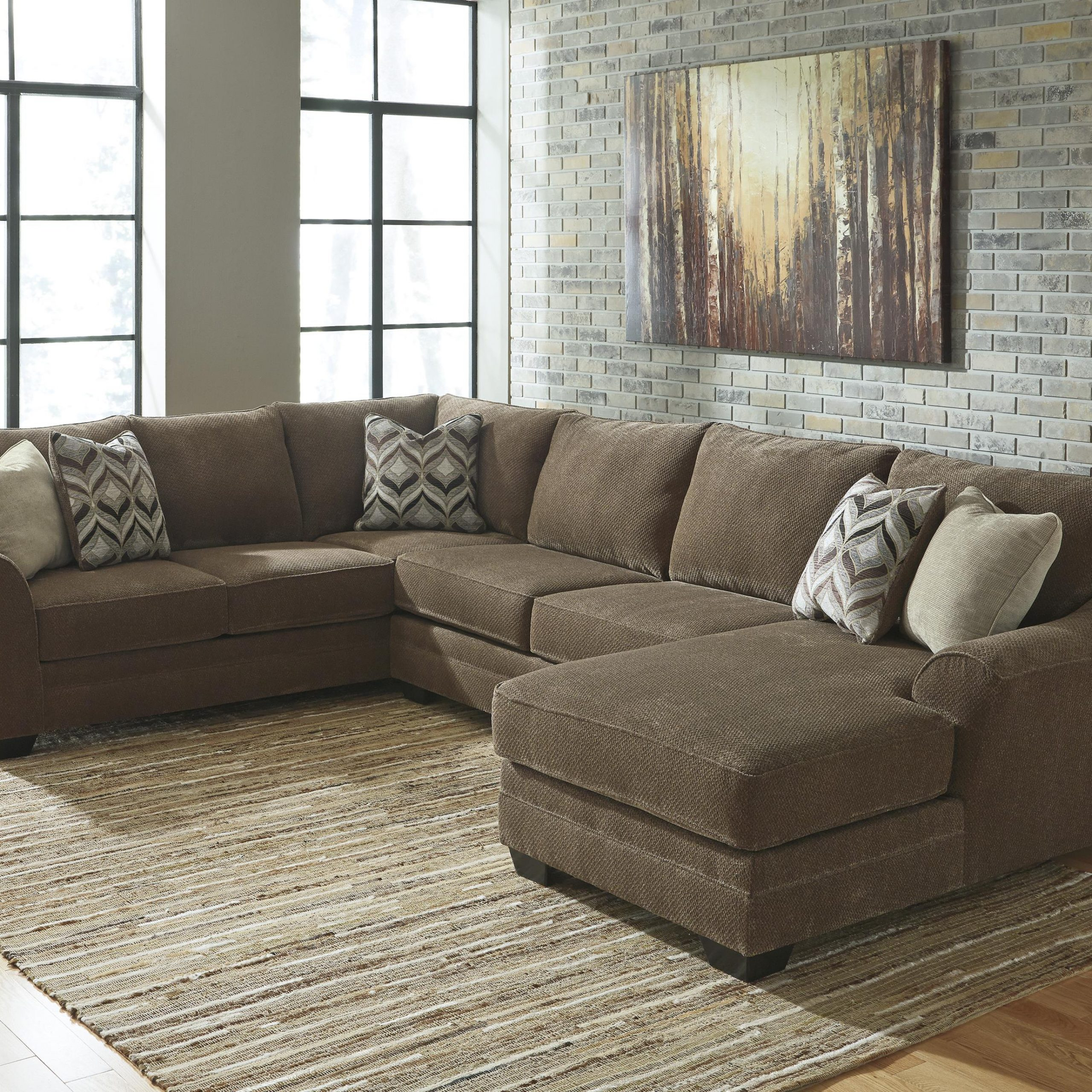 Benchcraft Justyna Contemporary 3 Piece Sectional With With 3Pc Polyfiber Sectional Sofas (View 3 of 15)