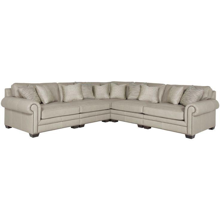 Bernhardt Interiors – Grandview 7230L, 7232L, 7235L, 7236L In Radcliff Nailhead Trim Sectional Sofas Gray (View 5 of 15)