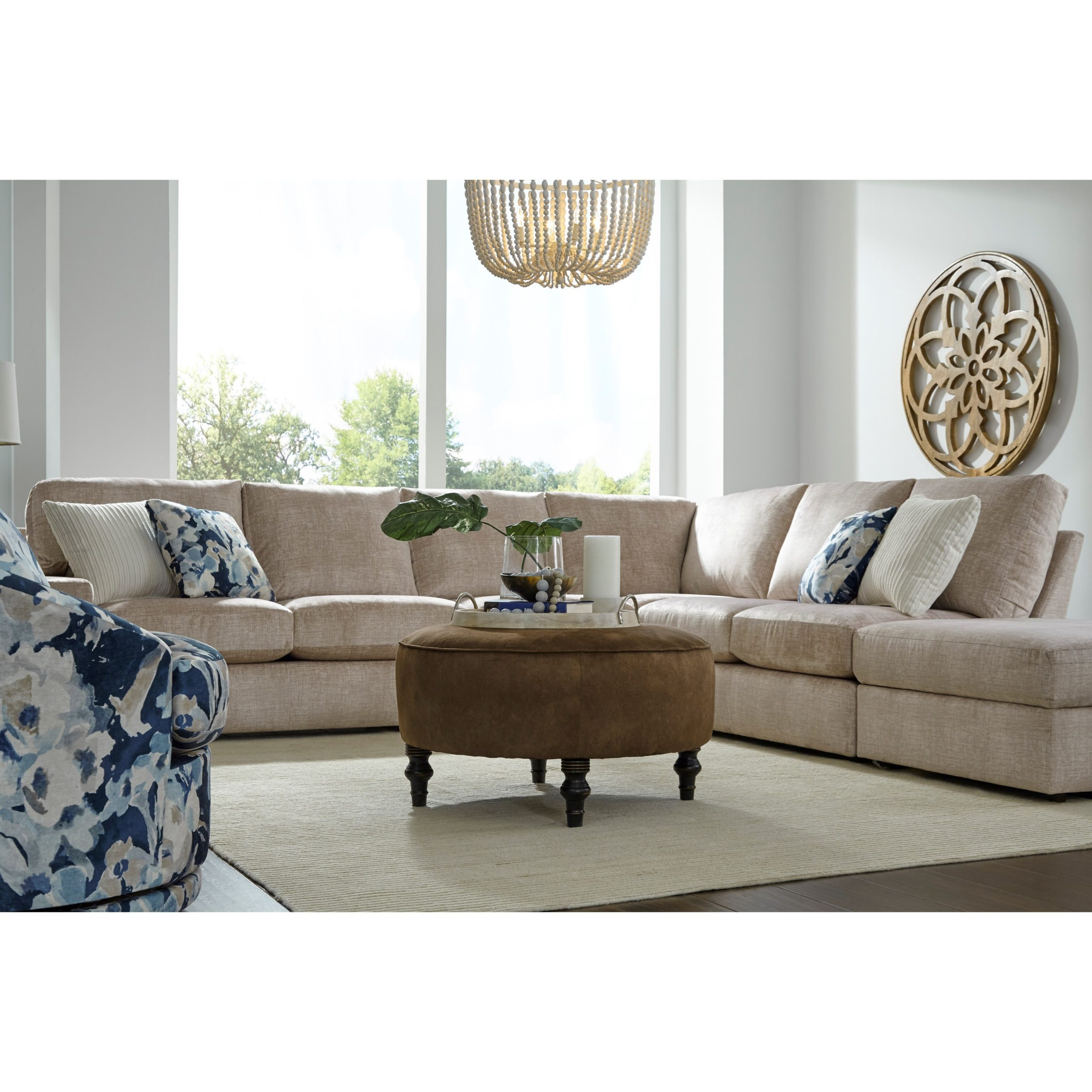 Best Home Furnishings Dovely Casual Five Seat Sectional Throughout Copenhagen Reversible Small Space Sectional Sofas With Storage (View 3 of 15)