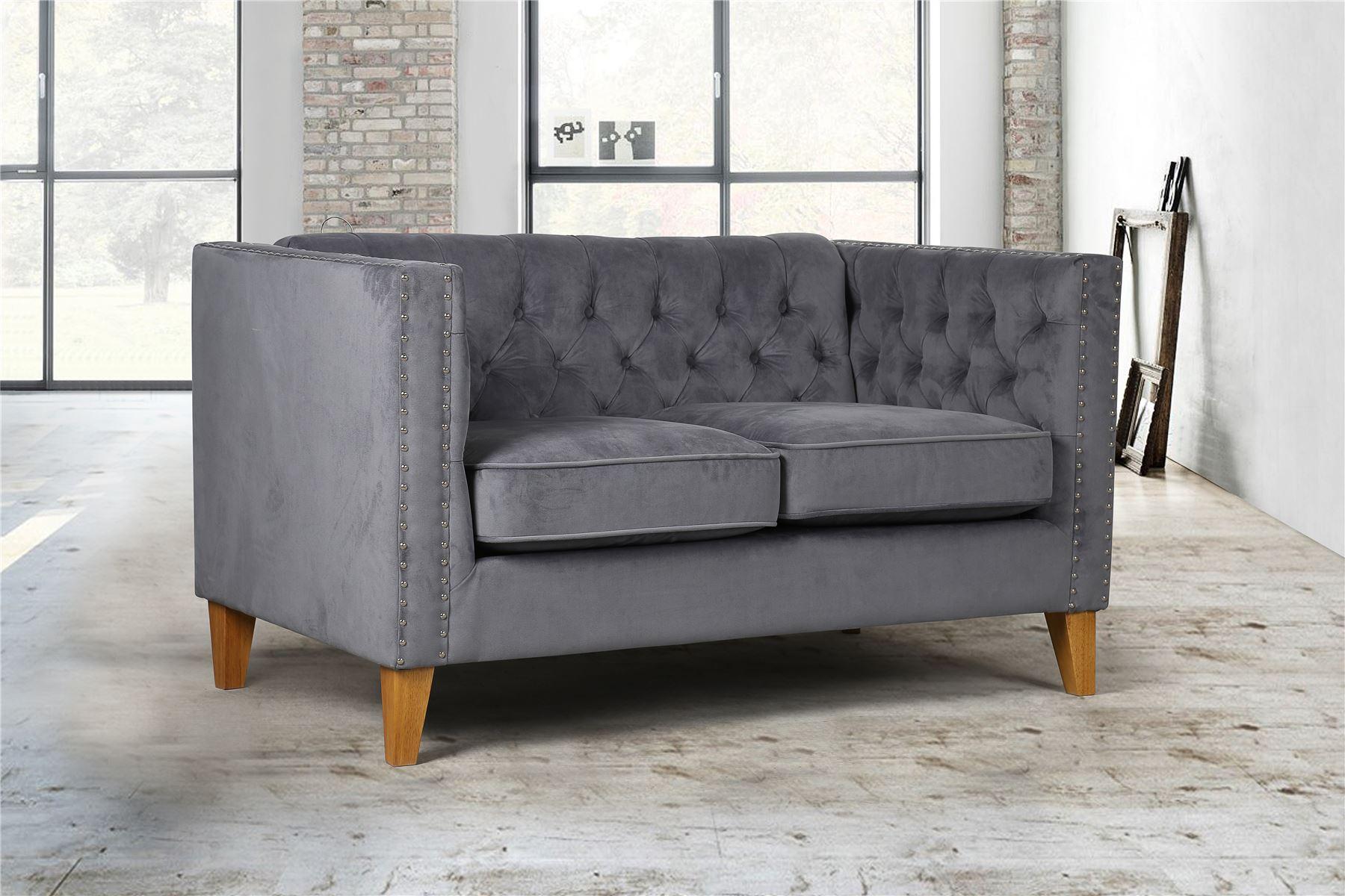 Birlea Florence Grey Velvet Medium Sofa Chair Button Back With Regard To Florence Medium Sofas (View 5 of 15)