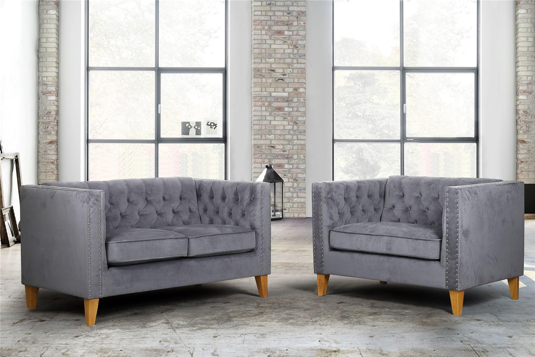 Birlea Florence Grey Velvet Medium Sofa Chair Button Back Within Florence Medium Sofas (View 6 of 15)