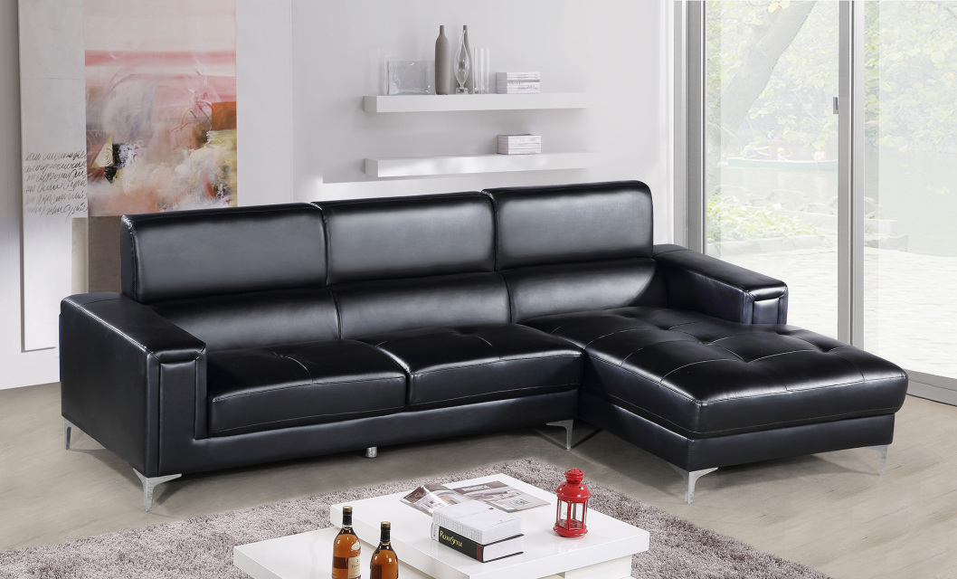 Black 2Pc Sectional Sofa Set Contemporary | Hot Sectionals Inside 2Pc Connel Modern Chaise Sectional Sofas Black (View 3 of 15)