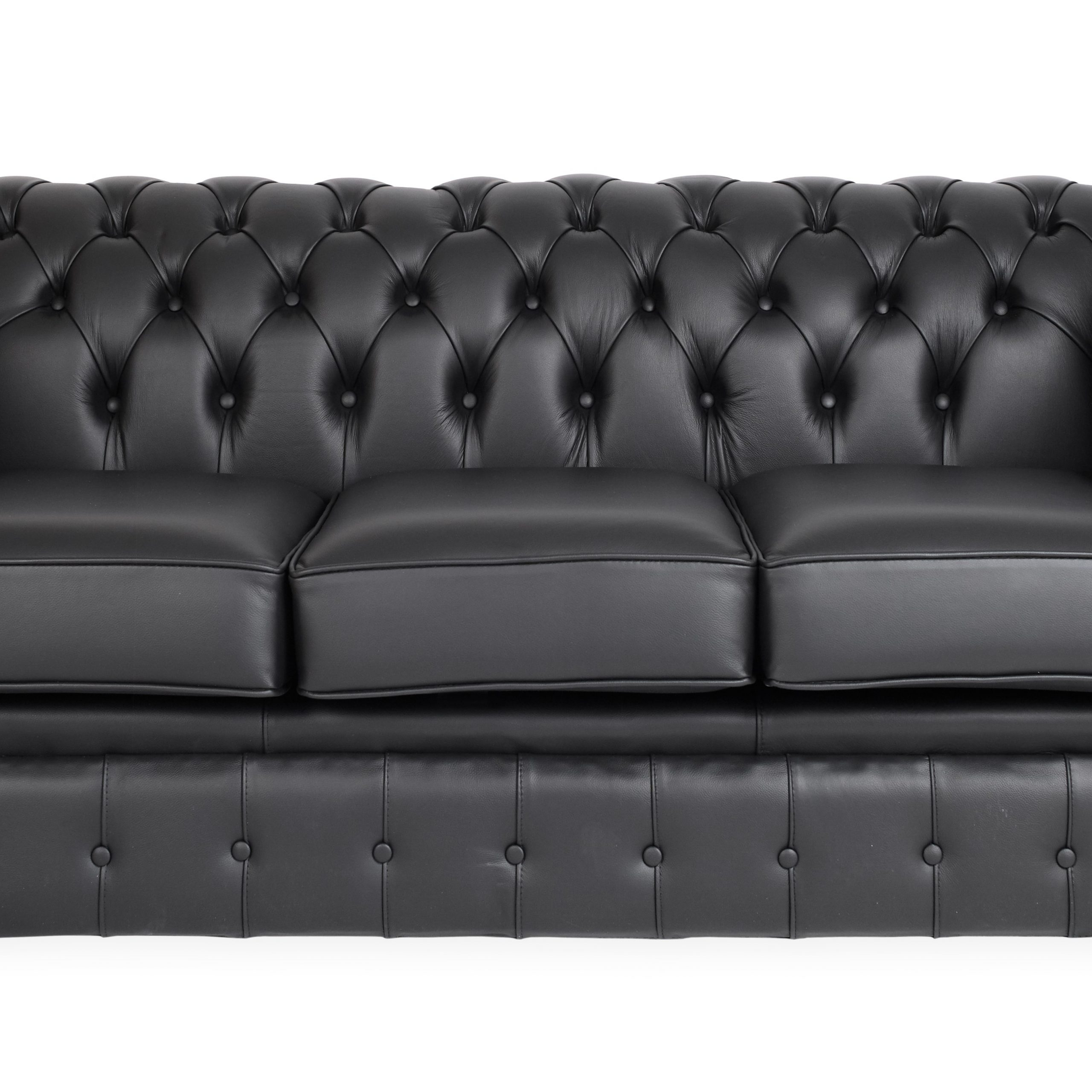 Black Chesterfield Three Seater Sofa | Lolliprops Event Intended For Chesterfield Sofas (View 2 of 15)