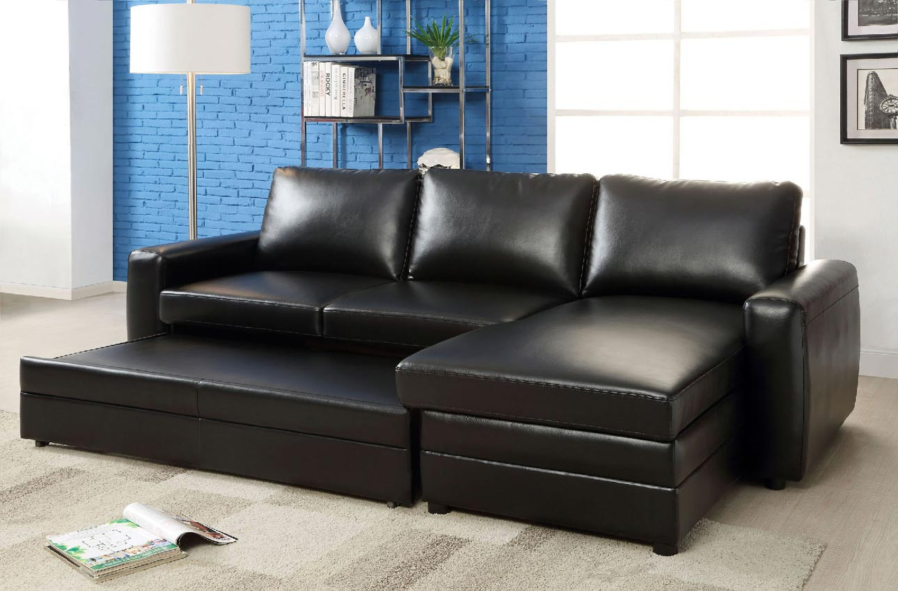 Black Convertible Sofa Bed Sectional  Umf6313 With Regard To Convertible Sofas (View 6 of 15)