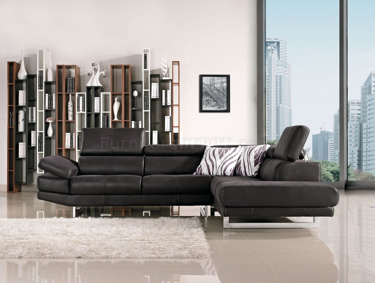 Black Fabric Modern Sectional Sofa W/Adjustable Headrest Throughout Wynne Contemporary Sectional Sofas Black (View 4 of 15)