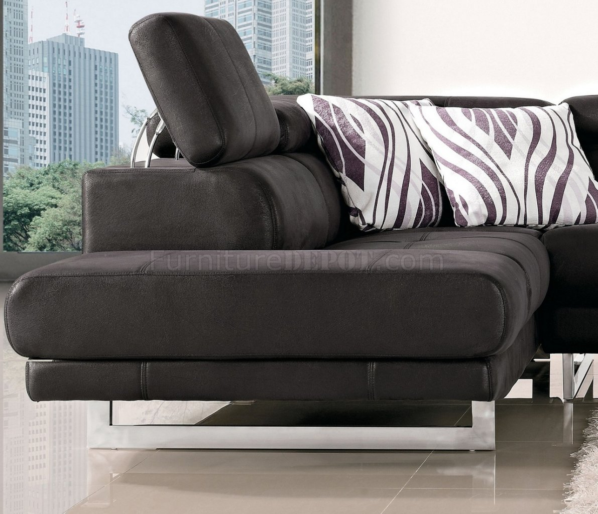 Black Fabric Modern Sectional Sofa W/Adjustable Headrest With Regard To Sectional Sofas (View 10 of 15)