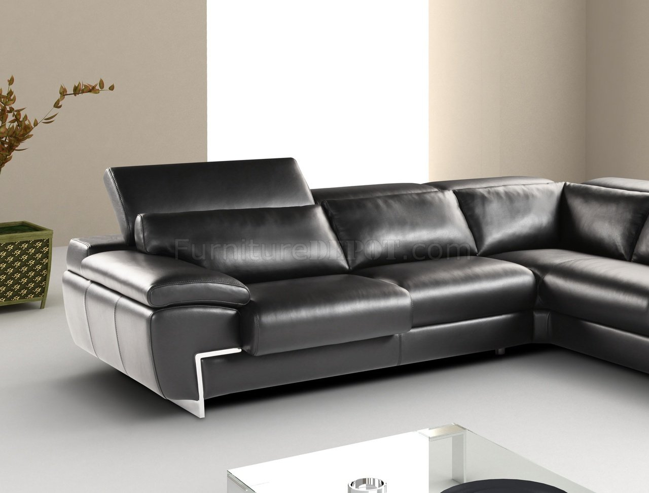 Black Full Leather Modern Sectional Sofa W/Adjustable Headrest Throughout Wynne Contemporary Sectional Sofas Black (View 12 of 15)