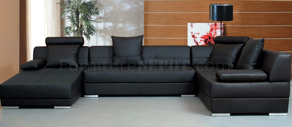 Black Leather Modern Sectional Sofa W/Throw Pillows Within Wynne Contemporary Sectional Sofas Black (View 14 of 15)