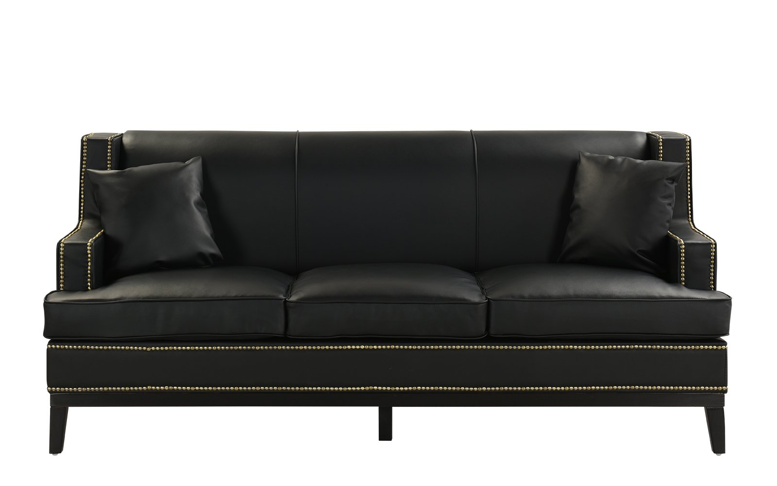 Black Modern Bonded Leather Sofa With Nailhead Trim Detail Throughout Bonded Leather All In One Sectional Sofas With Ottoman And 2 Pillows Brown (View 14 of 15)