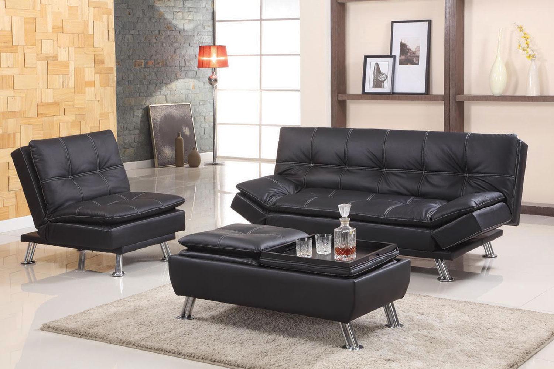 Black Or Brown Adjustable Futon Sofa With Easton Small Space Sectional Futon Sofas (View 10 of 15)