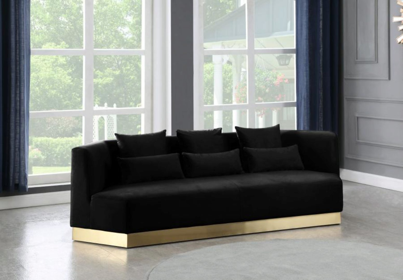 Black Velvet Sofa Curved Design Contemporary Meridian With Regard To Strummer Velvet Sectional Sofas (View 8 of 15)