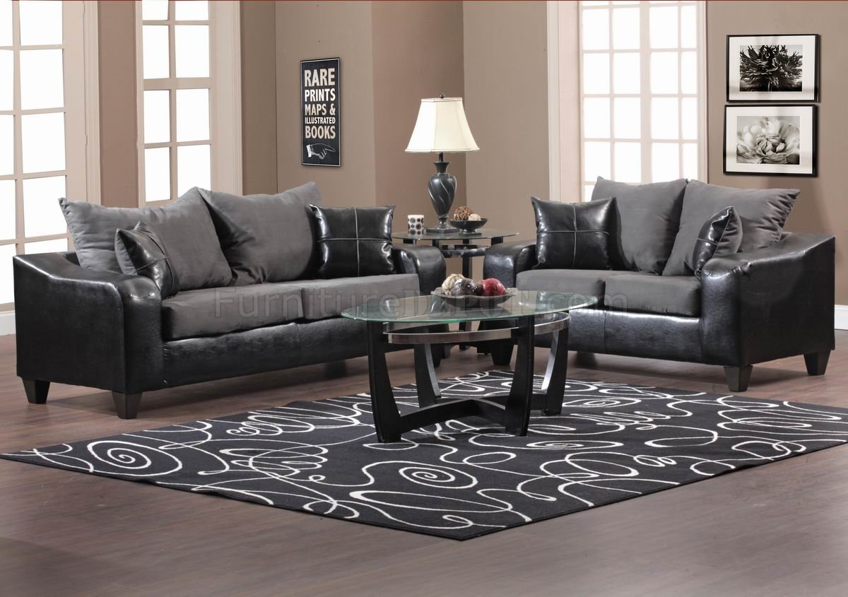 Black Vinyl And Grey Fabric Modern Sofa & Loveseat Set W For Sofas And Chairs (View 9 of 15)