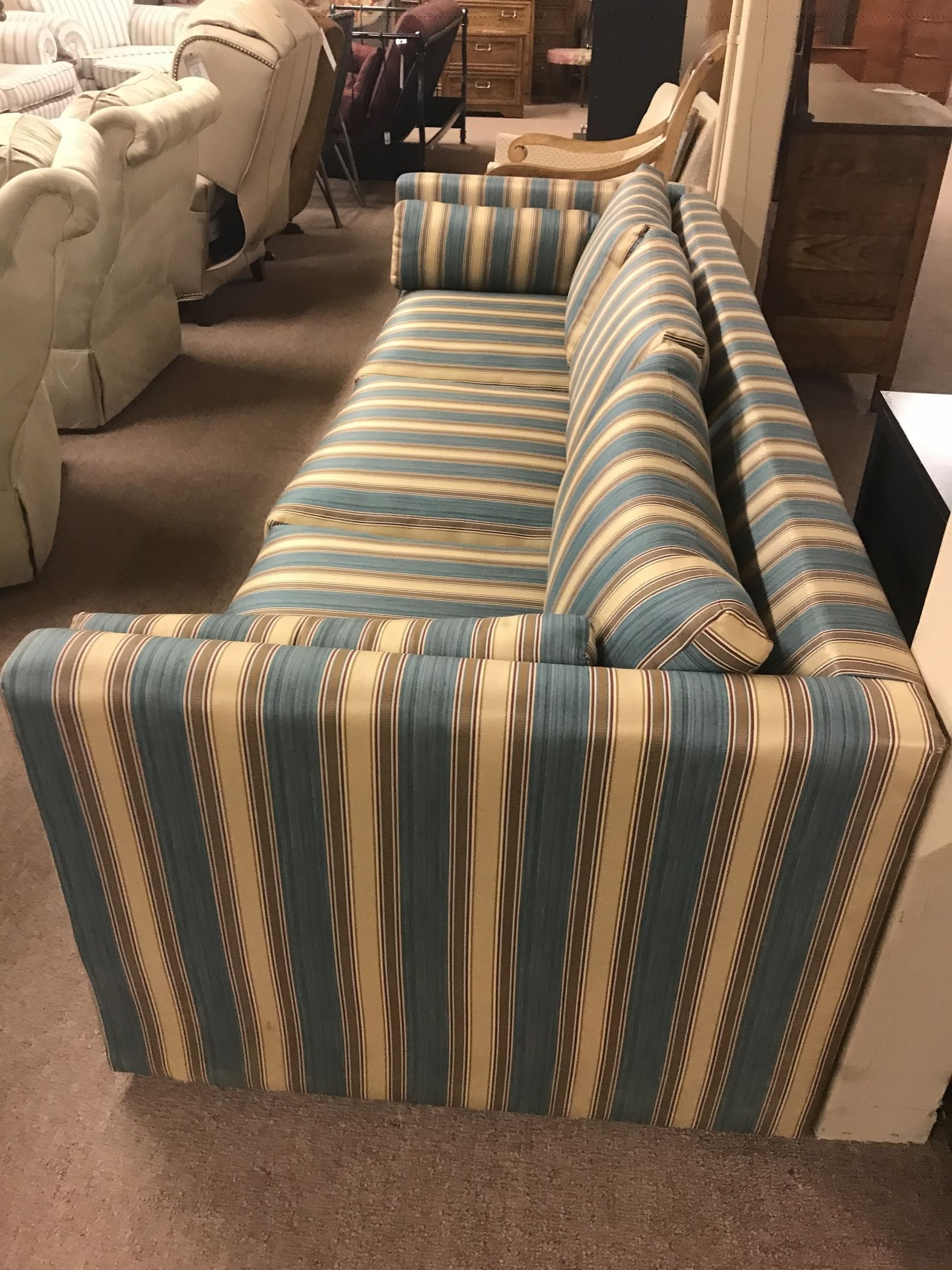 Blue & Cream Striped Sofa   Delmarva Furniture Consignment Inside Striped Sofas And Chairs (View 14 of 15)