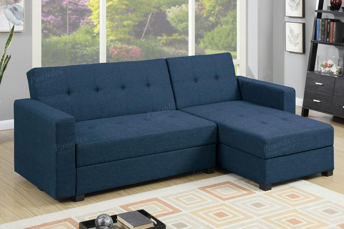 Blue Fabric Sectional Sofa Bed – Steal A Sofa Furniture Inside Prato Storage Sectional Futon Sofas (View 10 of 15)