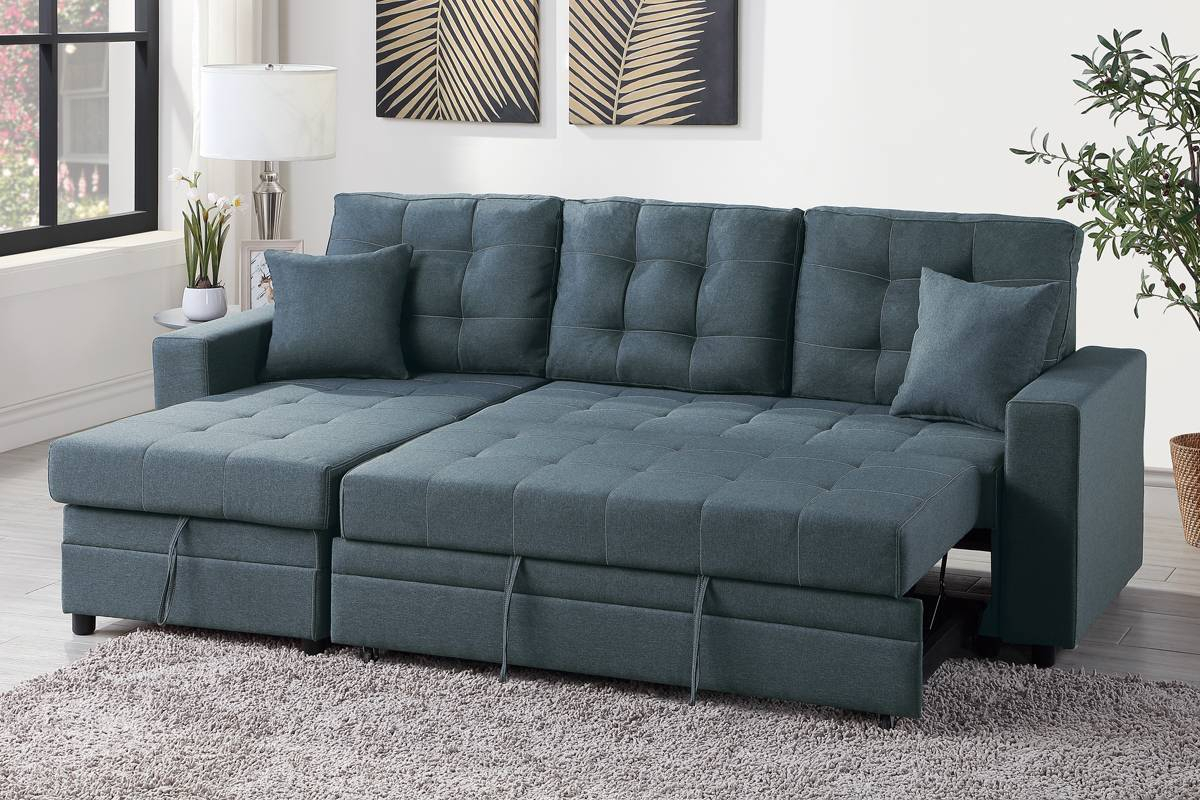 Blue Grey Convertible Pullout Bed Sofa Sectional + Storage Regarding Hugo Chenille Upholstered Storage Sectional Futon Sofas (View 4 of 15)