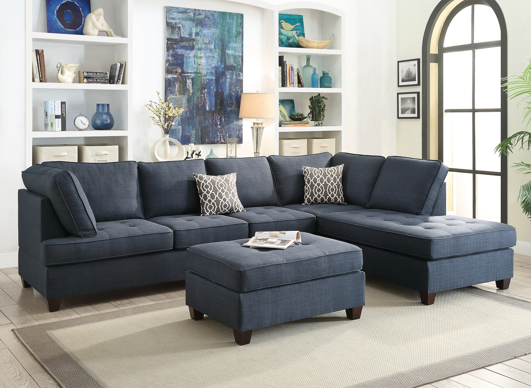 Blue Sectional Sofa Chaise Poundex #F6989 | Hot Sectionals In 4Pc Crowningshield Contemporary Chaise Sectional Sofas (View 9 of 15)