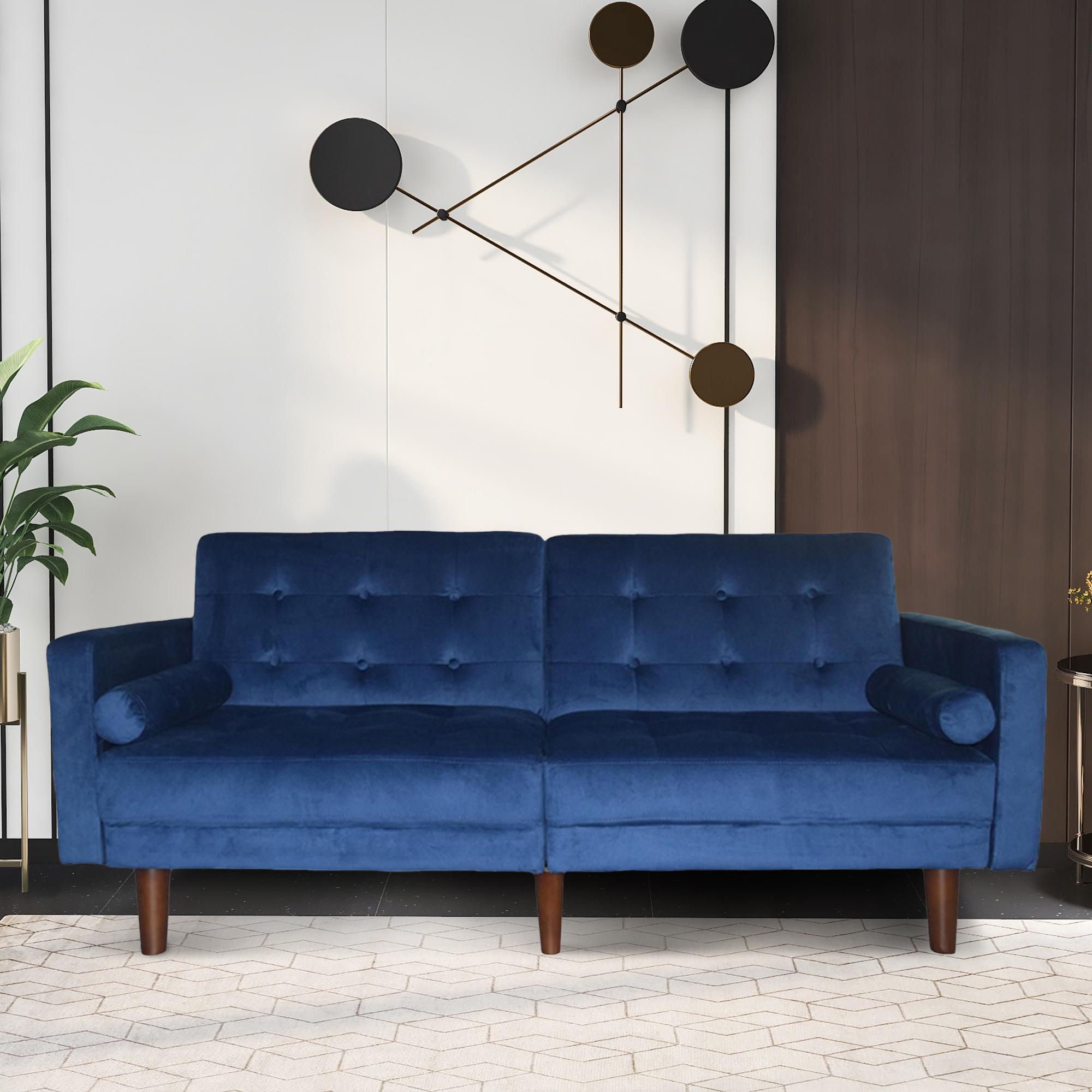 Blue Sofa Bed, Mid Century Modern Velvet Upholstered Intended For Dove Mid Century Sectional Sofas Dark Blue (View 2 of 15)