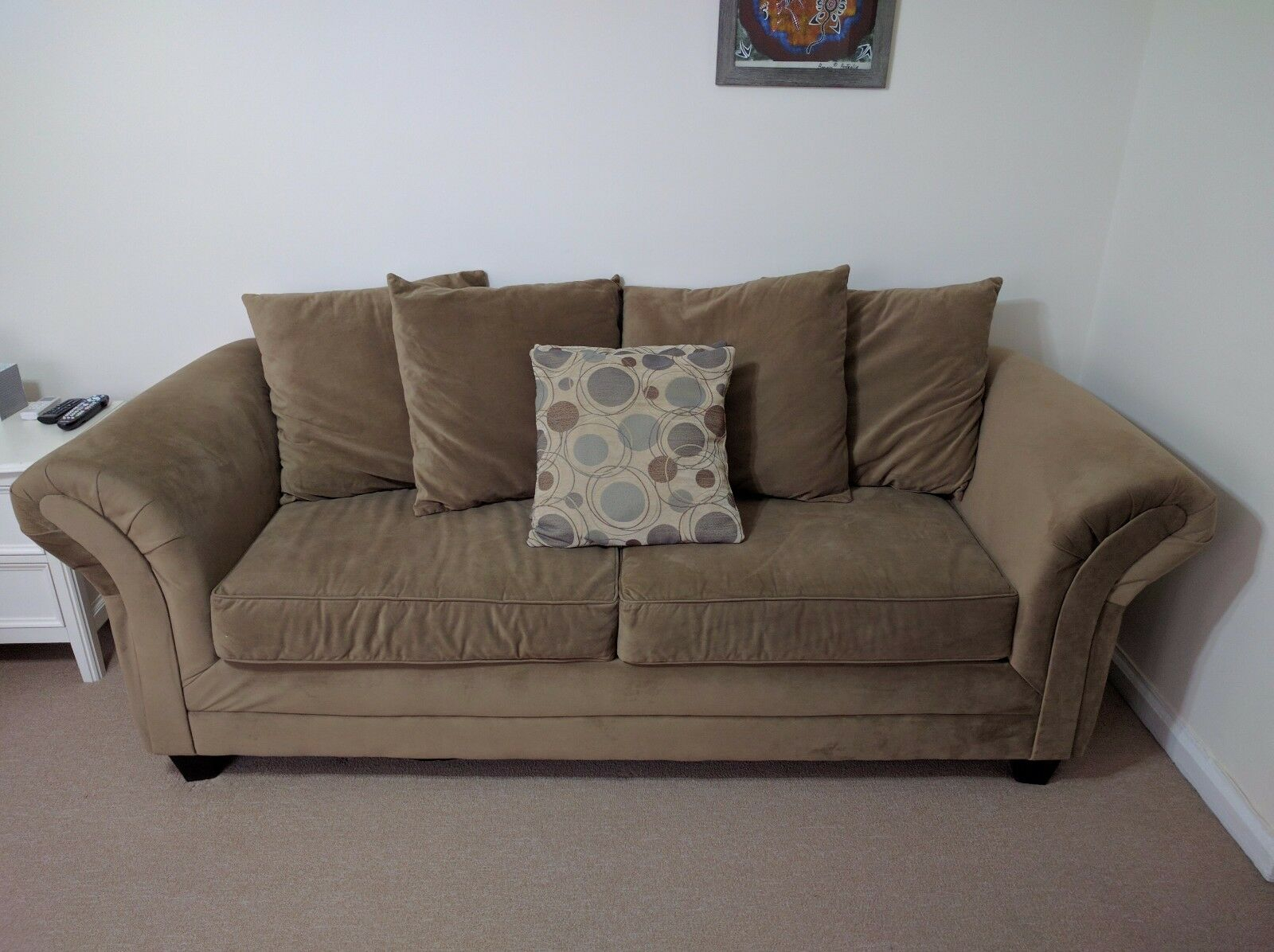 Bob'S Discount Furniture: Desert Sand Suede 3 Seater Sofa Throughout Symmetry Fabric Power Reclining Sofas (View 1 of 15)
