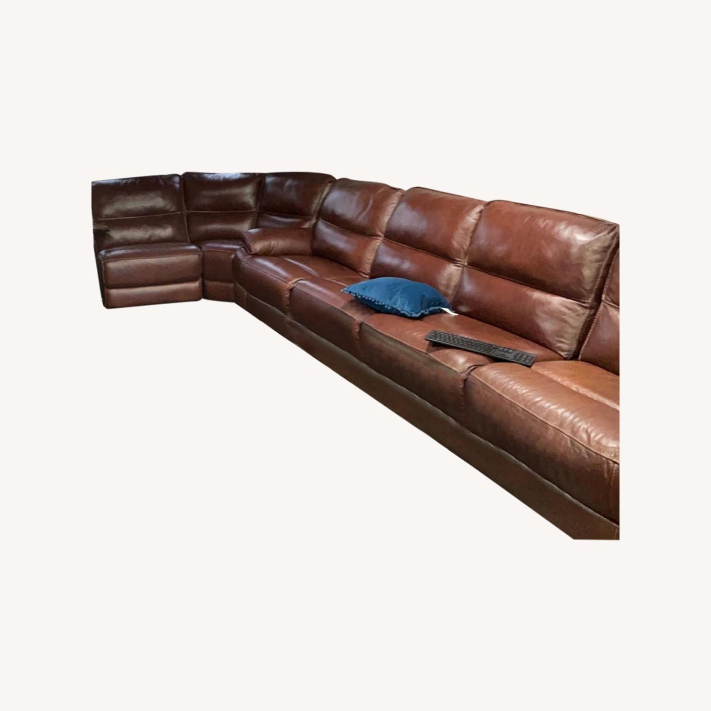 Bobs Furniture Leather Sofa : Trailblazer Gray Leather In Trailblazer Gray Leather Power Reclining Sofas (View 6 of 15)