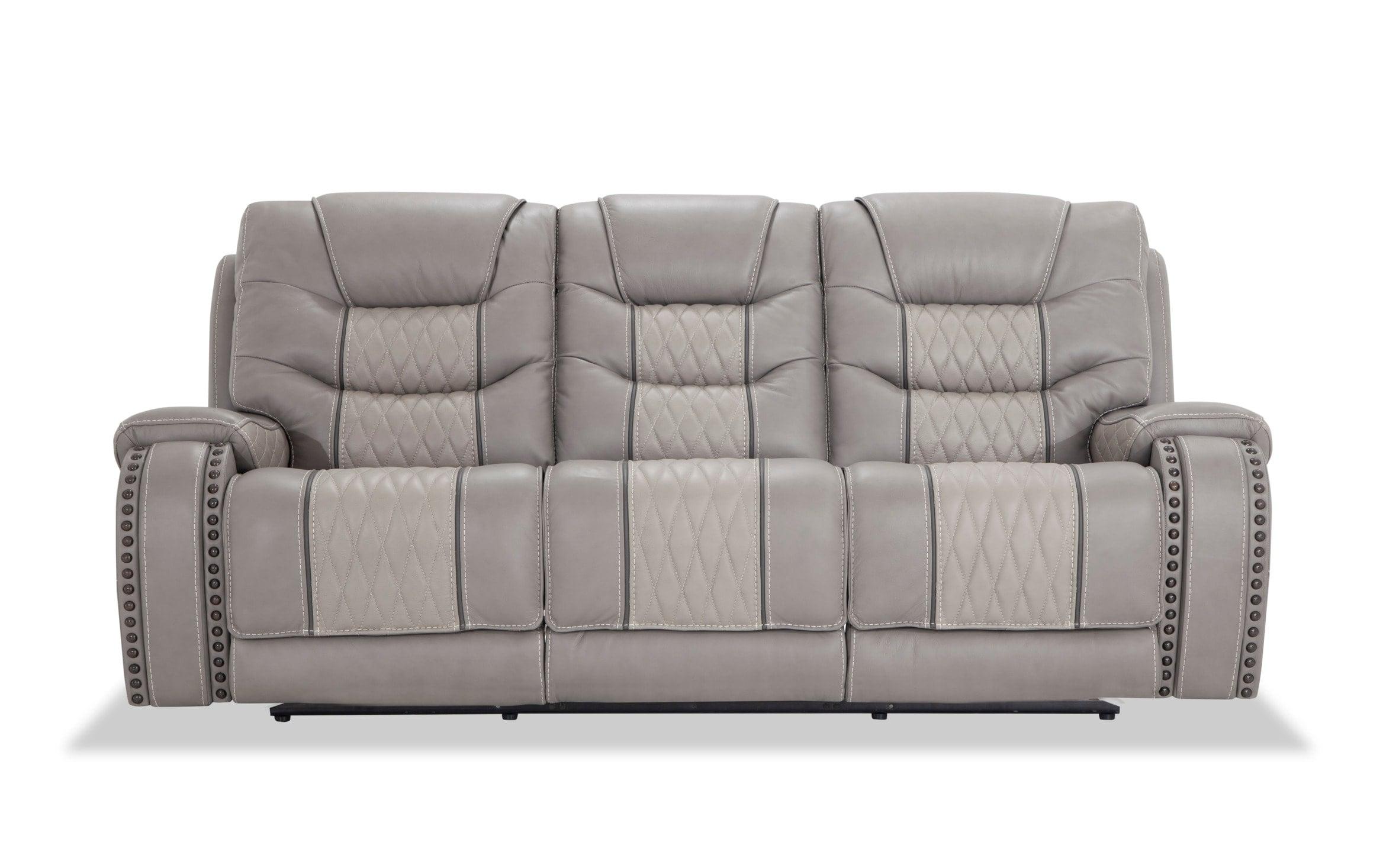 Bobs Furniture Leather Sofa : Trailblazer Gray Leather Pertaining To Trailblazer Gray Leather Power Reclining Sofas (View 3 of 15)