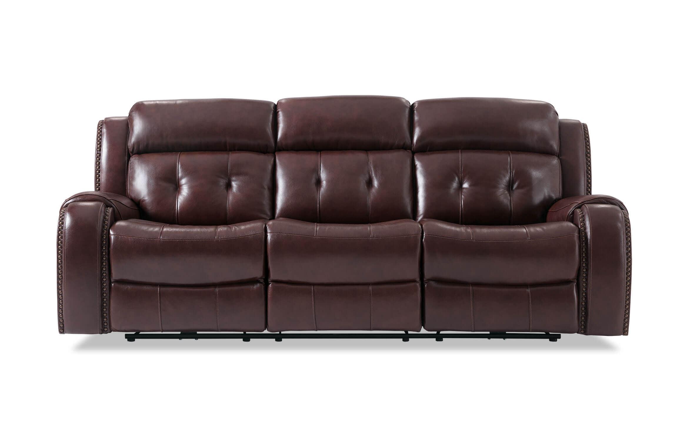Bobs Furniture Leather Sofa : Trailblazer Gray Leather Regarding Trailblazer Gray Leather Power Reclining Sofas (View 4 of 15)