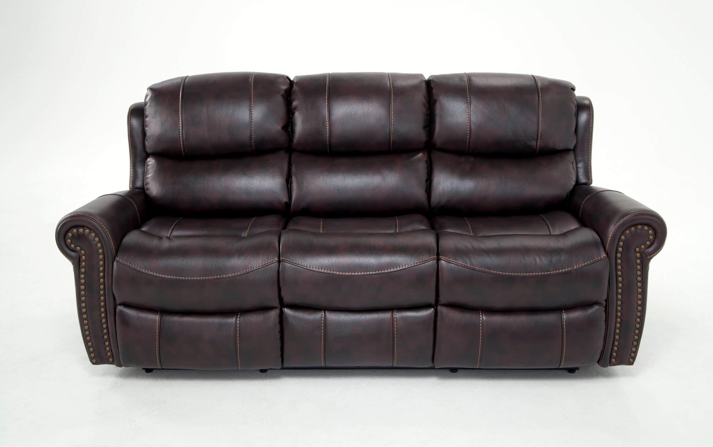 Bobs Furniture Leather Sofa : Trailblazer Gray Leather Regarding Trailblazer Gray Leather Power Reclining Sofas (View 2 of 15)