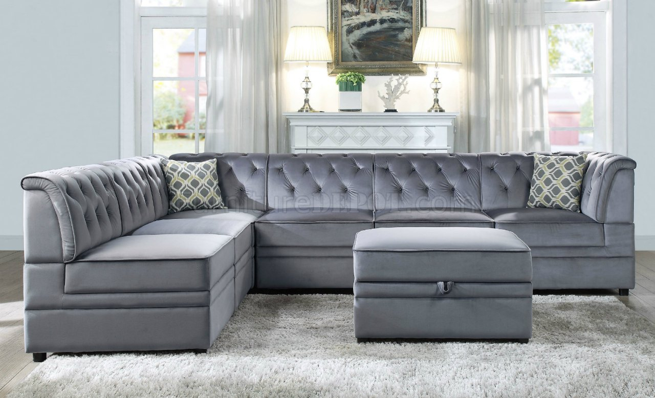 Bois Ii Modular Sectional Sofa 7Pc Set 53305 Gray Velvet In Strummer Velvet Sectional Sofas (View 1 of 15)