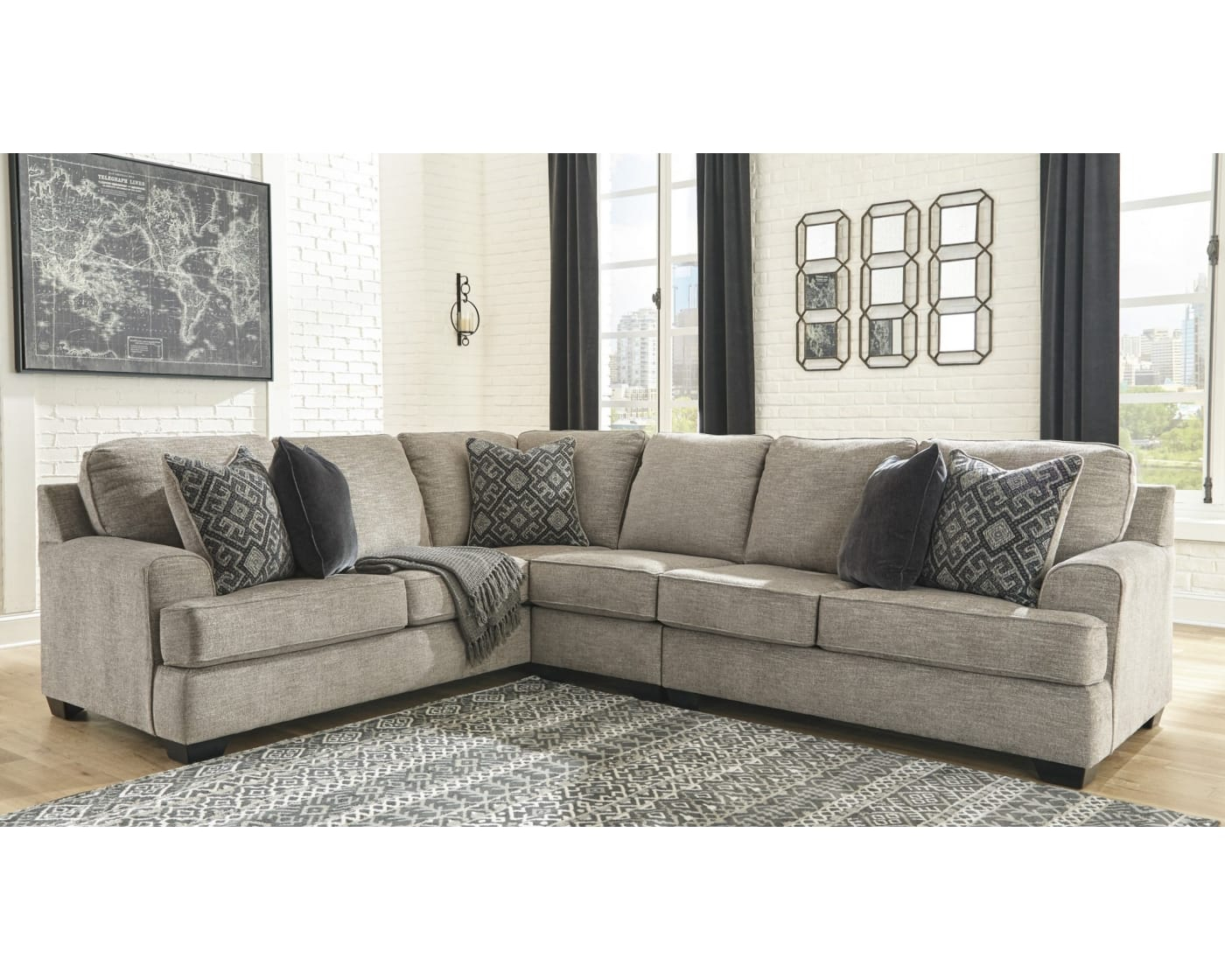 Bovarian Stone 3 Piece Right Facing Sectional Sofa In Dulce Right Sectional Sofas Twill Stone (View 5 of 15)